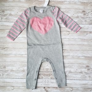 Gap Baby Jumpsuit with Striped Sleeves and Heart